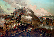American Civil War 1861-1865: Second Battle of Fort Fisher, 13-15 January 1865. Capture of Fort Fisher by Union (Northern) forces. Confederate (Southern) forces attempting to repel the landing party. Print c1887.