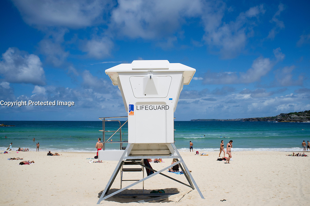 Lifeguard box on Bondi Beach in Sydney New South Wales in Australia
