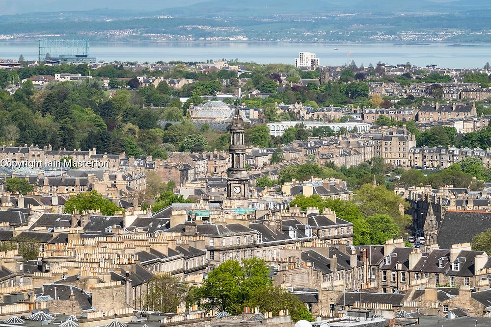 View of Saint Stephen's Church in Stockbridge  over rooftops of the New Town in Edinburgh, Scotland, United Kingdom, UK
