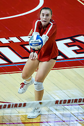 BLOOMINGTON, IL - October 23: Sarah Kushner digs during a college Women's volleyball match between the ISU Redbirds and the Drake Buldogs on October 23 2021 at Illinois State University in Normal, IL. (Photo by Alan Look)