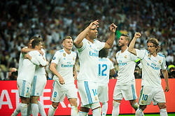 Toni Kroos of Real Madrid, Casemiro of Real Madrid, Sergio Ramos of Real Madrid, Luka Modric of Real Madrid celebrate during the UEFA Champions League final football match between Liverpool and Real Madrid at the Olympic Stadium in Kiev, Ukraine on May 26, 2018.Photo by Sandi Fiser / Sportida