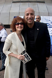 1st January, 2006. New Year's Day in New Orleans, Louisiana. Louisiana Rebirth interfaith service at the Superdome rings out the old disasterous 2005 and rings in what politicians and locals hope will be a successful 2006. TV soap opera star Robin Strasser (l) of 'One Life to Live' fame poses for a picture with New Orleans Mayor Ray Nagin. <br /> Photo; Charlie Varley/varleypix.com