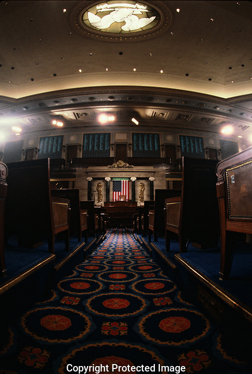 Washington, DC  1988/12/01 The center aisle of The House of Representatives<br /><br />Photo by Dennis Brack