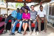 Mfaume Saidi, Haji Ally Hamidu Saidi (back) Mnyangu of Sofa Seat a local sofa making company. With Francisca Mlingwa, Joe Radcliffe and Goodluck Sanga of VSO / ICS Elimu Fursa project (Opportunities in Education) Lindi, Lindi region. Tanzania