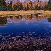 Grand Teton range rises sharply into the Wyoming sky.