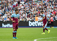Football - 2019 / 2020 Premier League - West Ham United vs. Manchester City<br /> <br /> Dejected Manuel Lanzini (West Ham United) as his team fall further behind at the London Stadium<br /> <br /> COLORSPORT/DANIEL BEARHAM