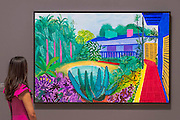 Lewis Collection Garden, 2015 - David Hockney, a major new retrospective, at Tate Britain's. It includes more than 200 works and celebrates Hockney's achievement in painting, drawing, print, photography and video. As he approaches his 80th birthday, this exhibition offers an unprecedented overview of the artist's 60-year career. It runs from 9 Feb to 29 May 2017. London 06 Feb 2017.