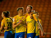 Football - 2021 / 2022 EFL Carabao Cup - Round Two - Blackpool vs. Sunderland -Bloomfield Road - Tuesday 24th August 2021<br /> <br /> Hat trick hero Aiden O'Brien of Sunderland celebrates with Dan Neil at the end of the game, at Bloomfield Road.<br /> <br /> COLORSPORT/Alan Martin