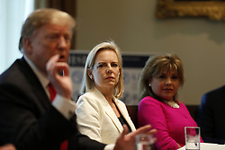 February 1, 2019 - Washington, District of Columbia, U.S. - United States Secretary of Homeland Security (DHS) Kirstjen Nielsen participates in a discussion on fighting human trafficking on the southern border during a meeting in the Cabinet Room of the White House, in Washington, D.C., February 1, 2019  (Credit Image: © Martin H. Simon/CNP via ZUMA Wire)