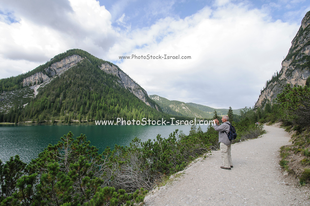 Pragser Wildsee, or Lake Prags, Lake Braies, Dolomites, Italy
