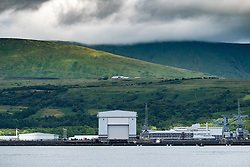 View of Faslane naval base on the Clyde  home of Trident nuclear deterrent submarines in Scotland, United Kingdom