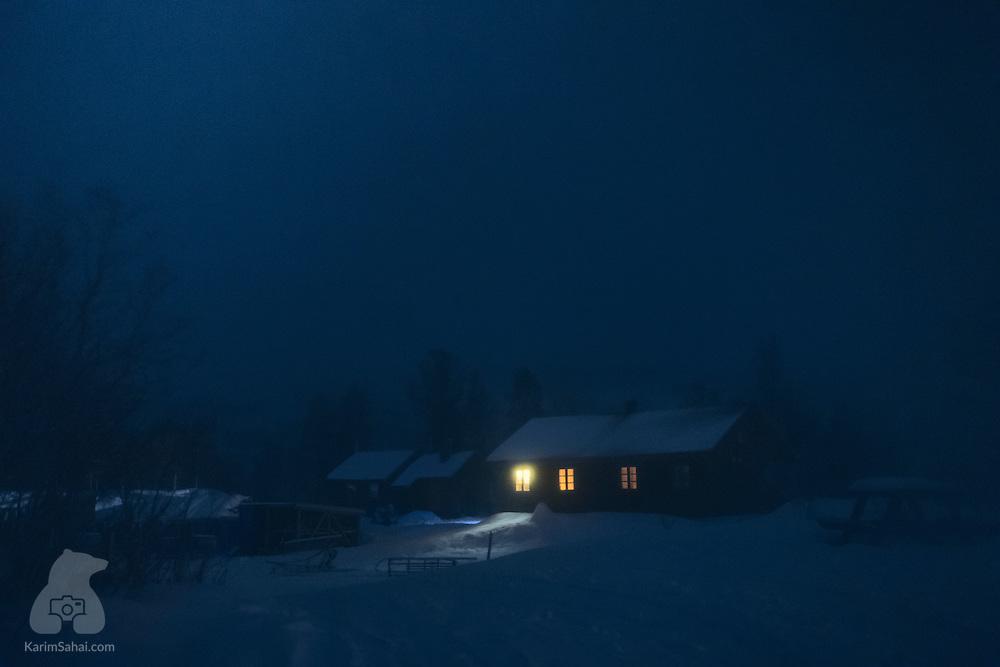 Dark and foggy winter night, Troms, Norway