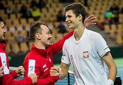 Radoslaw Szymanik, Hubert Hurkacz of Poland celebrate after winning during the Day 2 of Davis Cup 2018 Europe/Africa zone Group II between Slovenia and Poland, on February 4, 2018 in Arena Lukna, Maribor, Slovenia. Photo by Vid Ponikvar / Sportida