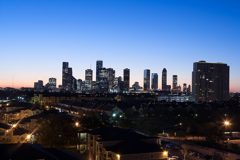 Houston, Texas skyline at dusk from the west.