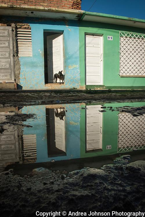 Reflections in Trinidad's cobblestone streets, Cuba
