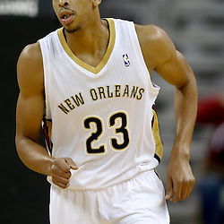 Oct 23, 2013; New Orleans, LA, USA; New Orleans Pelicans power forward Anthony Davis (23) against the Miami Heat during the second half of a preseason game at New Orleans Arena. The Heat defeated the Pelicans 108-95. Mandatory Credit: Derick E. Hingle-USA TODAY Sports