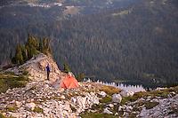 Man hiking in Mt. Rainier National Park.
