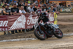 AMA flattracker (no. 14) Briar Bauman on his Indian FTR750 racer in the AMA Flat track racing at the Sturgis Buffalo Chip during the Sturgis Black Hills Motorcycle Rally. Sturgis, SD, USA. Sunday, August 4, 2019. Photography ©2019 Michael Lichter.