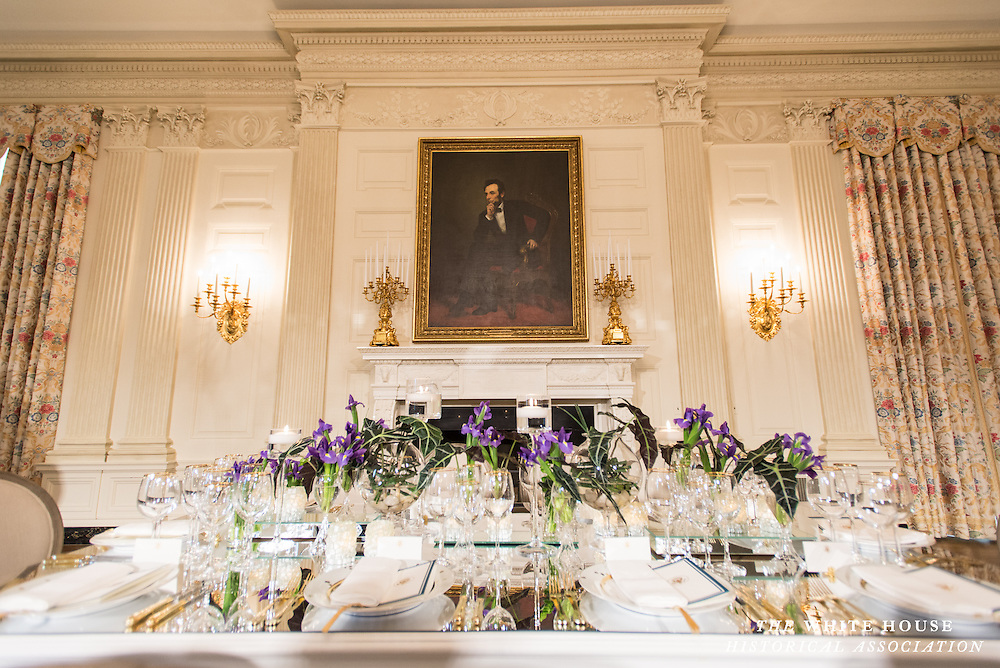2/10/2014 -- Place settings and decor as part of the press preview for the White House  State Dinner honoring French President Françoise Hollande. (Photo by Matthew Paul D'Agostino / WHHA) 2014 White House Historical Association