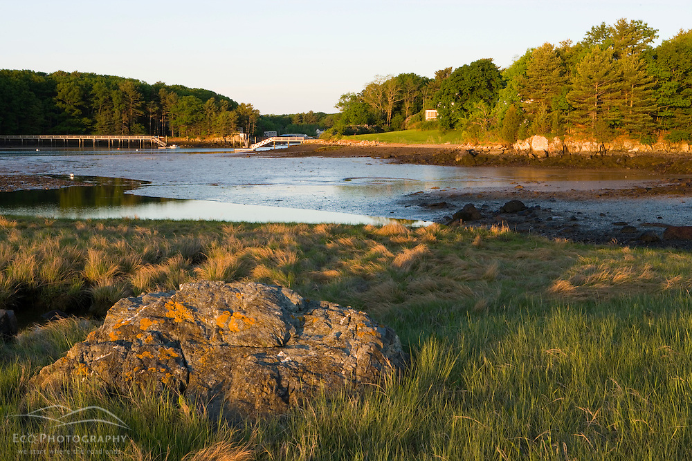 Early morning at the Creek Farm Preserve in Portsmouth, New Hampshire.  View across tidal flat from Goose Island.  Society for the Protection of New Hampshire Forests property.  Spring.
