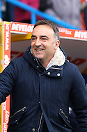 Sheffield Wednesday Manager Carlos Carvalhal looks on. Skybet football league Championship match, Huddersfield Town v Sheffield Wednesday at the John Smith's Stadium in Huddersfield, Yorkshire on Saturday 2nd April 2016.<br /> pic by Chris Stading, Andrew Orchard sports photography.