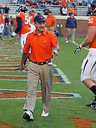 Oct 23, 2010; Charlottesville, VA, USA; Virginia Cavaliers defensive coordinator Jim Reid before the game against the Eastern Michigan Eagles at Scott Stadium.  Virginia won 48-21. Mandatory Credit: Andrew Shurtleff
