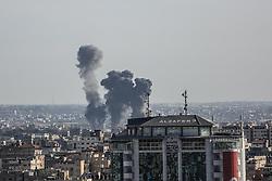 May 4, 2019 - Gaza City, The Gaza Strip, Palestine - Smoke and fire rise after Israeli airstrike the Gaza strip (Credit Image: © Dawoud Abo Al Kas/Quds Net News via ZUMA Wire)