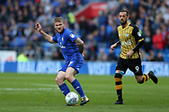 Aron Gunnarsson of Cardiff city (l) and Steven Fletcher of Sheffield Wednesday in action. EFL Skybet championship match, Cardiff city v Sheffield Wednesday at the Cardiff City Stadium in Cardiff, South Wales on Saturday 16th September 2017.<br /> pic by Andrew Orchard, Andrew Orchard sports photography.
