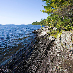 The remote northwestern shoreline of Moosehead Lake Maine USA