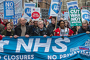 John McDonnell, shadow chancellor  joins union leaders at the front of the march - A march against cuts to and potential privatisation of the NHS starts in Tavistock Square and heads for Parliament Square. The march was organised by the peoples assembly and supported by most major unions and the Labour Party. London  04 Mar 2017