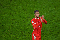 CARDIFF, WALES - Sunday, October 13, 2019: Wales Tyler Roberts applauds the supporters after the UEFA Euro 2020 Qualifying Group E match between Wales and Croatia at the Cardiff City Stadium. The game ended in a 1-1 draw. (Pic by Paul Greenwood/Propaganda)