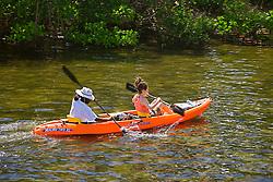 Kayaking in Lake Worth, a preserved, pristine estuary, John D. MacArthur Beach State Park, North Palm Beach, Florida