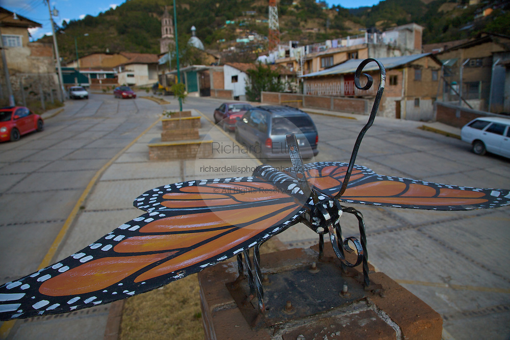 A statue of a Monarch Butterfly in Angangueo, Mexico in the center of the Monarch Butterfly Biosphere Reserves in central Mexico in Michoacan State. The town celebrates the Monarch Butterflies which attract tourists from around the world. Each year hundreds of millions Monarch butterflies mass migrate from the U.S. and Canada to Oyamel fir forests in the volcanic highlands of central Mexico. North American monarchs are the only butterflies that make such a massive journey—up to 3,000 miles (4,828 kilometers).