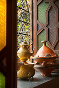 Coffee pots and tajine on windowsill in Casablanca, Morocco