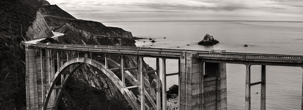 The famous Bixby Bridge is seen from a turnout in Big Sur.