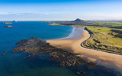 Aerial view of Yellowcraigs beach on Firth of Forth in East Lothian, Scotland, UK