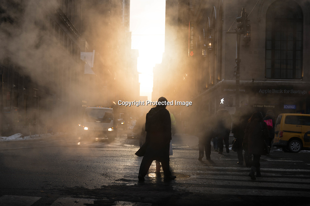 New York, Manhattan in the steam