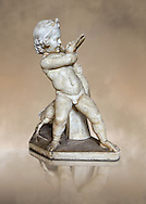 Roman statue of a Boy strangling a goose, a Roman copy of a late 3rd century Hellenistic bronze statue attributed to Boethos. Excavated from the Villa dei Quintilli on the Appian Way, inv 2655, Vatican Museum Rome, Italy,  art background ..<br /> <br /> If you prefer to buy from our ALAMY STOCK LIBRARY page at https://www.alamy.com/portfolio/paul-williams-funkystock/greco-roman-sculptures.html . Type -    Vatican    - into LOWER SEARCH WITHIN GALLERY box - Refine search by adding a subject, place, background colour, museum etc.<br /> <br /> Visit our CLASSICAL WORLD HISTORIC SITES PHOTO COLLECTIONS for more photos to download or buy as wall art prints https://funkystock.photoshelter.com/gallery-collection/The-Romans-Art-Artefacts-Antiquities-Historic-Sites-Pictures-Images/C0000r2uLJJo9_s0c