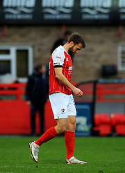 Andy Williams of Cheltenham Town cuts a dejected figure at the final whistle- Mandatory by-line: Nizaam Jones/JMP - 20/02/2021 - FOOTBALL - Jonny-Rocks Stadium - Cheltenham, England - Cheltenham Town v Bradford City - Sky Bet League Two