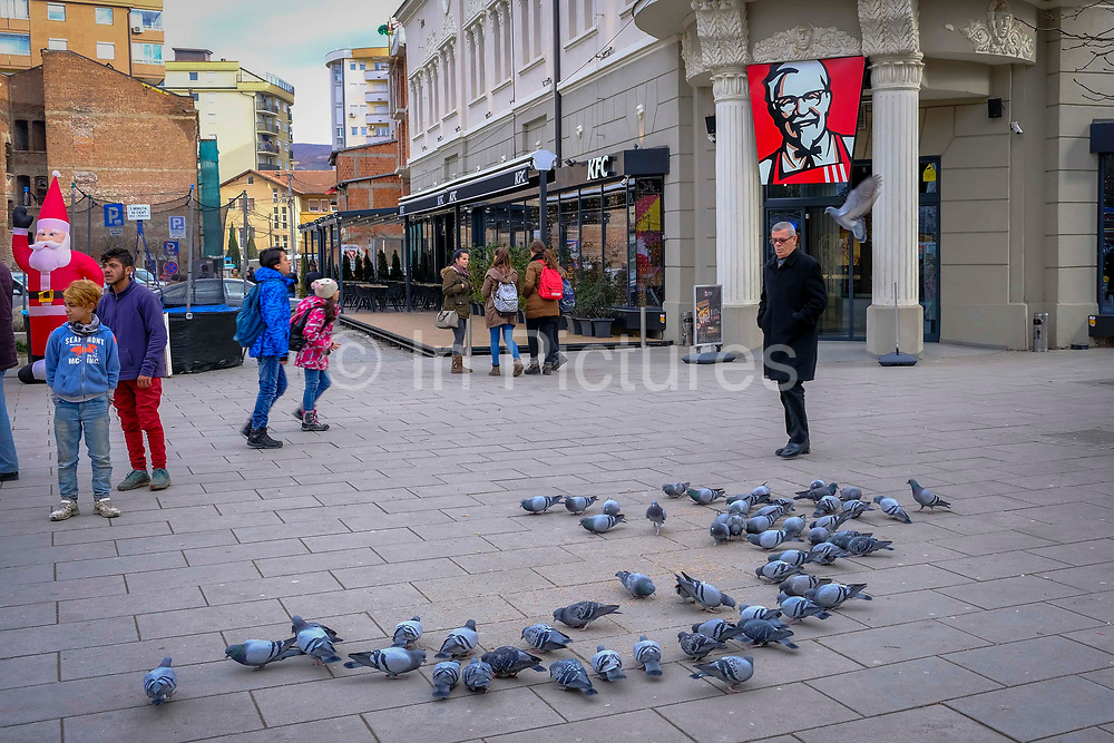 Pigeons feeding outside the Kentucky Fried Chicken  KFC in the south side of Mitrovica, a town in Northern Kosovo that straddles the river Ibar that separates the Serbian and Albanian districts of Mitrovica, Kosovo on the 12th of December 2018.  Mitrovica or Kosovska Mitrovica is a city and municipality located in Northern Kosovo.