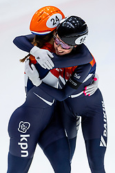 13-01-2019 NED: ISU European Short Track Championships 2019 day 3, Dordrecht<br /> Suzanne Schulting of Netherlands reacts after finishing first in the Ladies 3000m super final during the ISU European Short Track Speed Skating Championships. Lara van Ruijven #16 NED