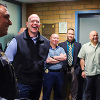 111214       Cable Hoover<br /> <br /> New Mexico State Police major Darren Soland laughs as his colleagues tell joke and stories about him at his retirement ceremony at NMSP headquarters in Santa Fe Wednesday.