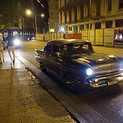 Nighttime in the streets of Havana, Cuba.
