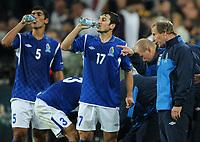 Fotball<br /> Tyskland v Aserbajan<br /> 07.09.2010<br /> Foto: Witters/Digitalsport<br /> NORWAY ONLY<br /> <br /> v.l. Elnur Allahverdiyev, Vugar Nadirov, Trainer Berti Vogts (Aserbaidschan)<br /> EM-Qualifikation, Deutschland - Aserbaidschan 6:1