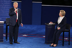 Donald Trump and and Hillary Clinton on stage during the second debate between the Republican and Democratic presidential candidates on Sunday, October 9, 2016 at Washington University in St. Louis, Mo. Photo by Christian Gooden/St. Louis Post-Dispatch/TNS/ABACAPRESS.COM