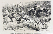 Himmel! The All-Highest has the truth spoken - the worst is behind us'. German infantry retreating in panic before Allied infantry supported by tanks.  World War I cartoon from 'Punch', London, 21 August 1918.