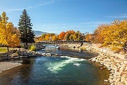 """""""Truckee River in Autumn 35"""" - Photograph of the Truckee River in the fall, shot in Downtown Reno, Nevada."""