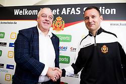 November 2, 2017 - Mechelen, BELGIUM - Mechelen's chairman Johan Timmermans and Mechelen's new head coach Aleksandar Jankovic shake hands at a press conference of Belgian first division soccer team KV Mechelen, in Mechelen, Thursday 02 November 2017, to present their new head coach. Last week the club dismissed coach Ferrera and appointed Serbian Jankovic for a second stint, he already coached the club from May 2014 to September 2016. BELGA PHOTO JASPER JACOBS (Credit Image: © Jasper Jacobs/Belga via ZUMA Press)