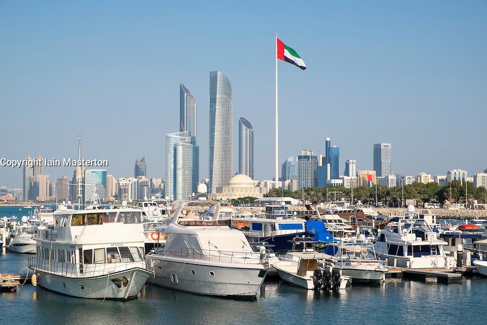 Skyline and Yacht Club Marina in Abu Dhabi United Arab Emirates