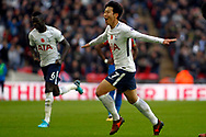 Son Heung-min of Tottenham Hotspur (7) celebrates after scoring his teams first goal. Premier league match, Tottenham Hotspur v Crystal Palace at Wembley Stadium in London on Sunday 5th November 2017.<br /> pic by Steffan Bowen, Andrew Orchard sports photography.